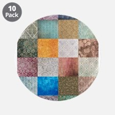 """Patchwork Quilt squares patte 3.5"""" Button (10 pack"""