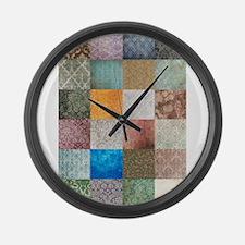 Patchwork Quilt squares patte Large Wall Clock