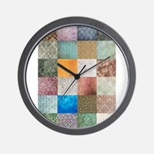 Patchwork Quilt squares patte Wall Clock