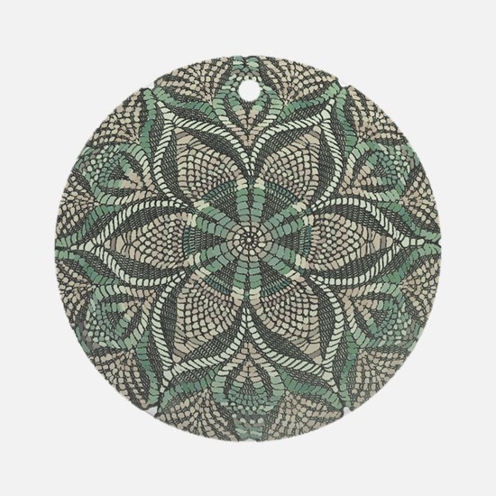 Green and Black Lacey Doily d Ornament (Round)