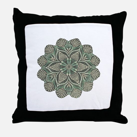 Green and Black Lacey Doily d Throw Pillow