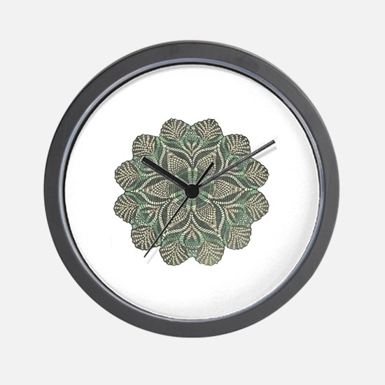 Green and Black Lacey Doily d Wall Clock