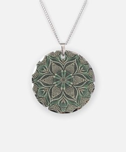 Green and Black Lacey Doily d Necklace