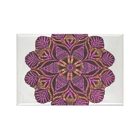 Pink and black flowery Lace D Rectangle Magnet (10