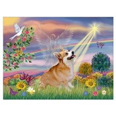 Cloud Angel Welsh Corgi Wall Art Canvas Art