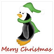 Merry Christmas Penguin (green) Wall Art Poster