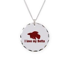 I Love My Betta Necklace Circle Charm