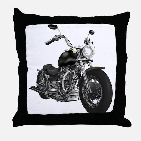 BLACK MOTORCYCLE Throw Pillow