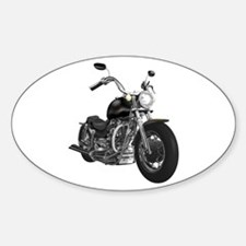 BLACK MOTORCYCLE Oval Decal