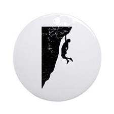 Rock Climb Cliff Hanger Ornament (Round)