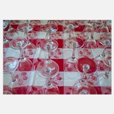 Wine Glasses On Red Checked Cloth Wall Art