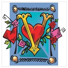 Valentine V with Heart Wall Art Poster