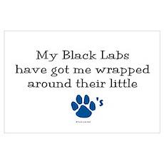 Wrapped Around Their Paws (Black Lab) Mini Poster Poster