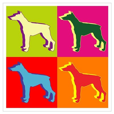 Doberman Pinscher Silhouette Pop Art Wall Art Canvas Art