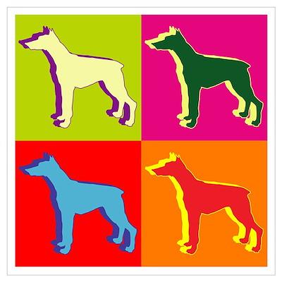 Doberman Pinscher Silhouette Pop Art Wall Art Poster