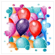 Birthday Balloons Wall Art Canvas Art