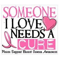 Needs A Cure BREAST CANCER Wall Art Poster