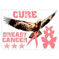 Cure Breast Cancer Eagle Wall Art Poster