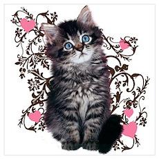 Cute Blue-eyed Tabby Cat Wall Art Poster
