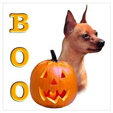 Halloween Min Pin Boo Wall Art Poster