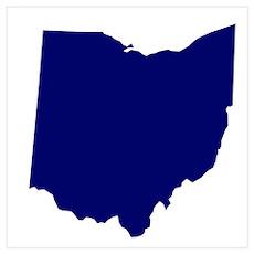 Ohio - Blue Wall Art Poster