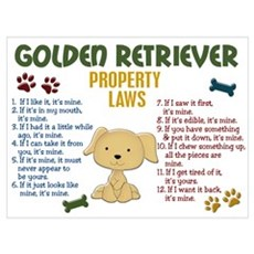 Golden Retriever Property Laws 4 Wall Art Poster