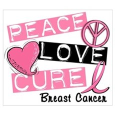 PEACE LOVE CURE Breast Cancer (L1) Wall Art Canvas Art