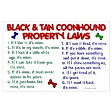 Black & Tan Coonhound Property Laws 2 Wall Art Poster