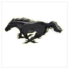 Mustang Running Horse Wall Art Poster