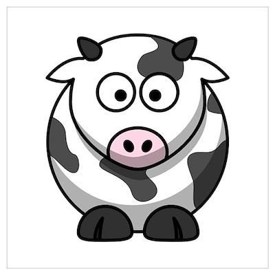 Cartoon Cow Wall Art Poster