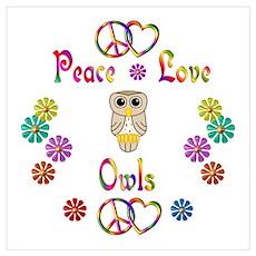 Peace Love Owls Wall Art Poster