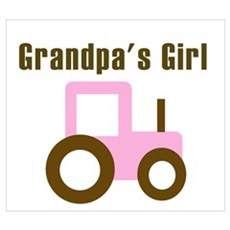 Grandpa's Girl - Pink/Brown T Wall Art Poster