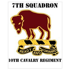 DUI - 7th Sqdrn - 10th Cavalry Regt with Text Mini Framed Print