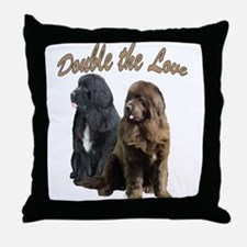 double Love Newfs Throw Pillow