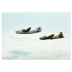B-24 and B-17 Flying Wall Art Canvas Art