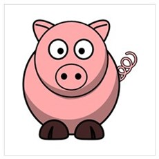 Cartoon Pig Wall Art Poster
