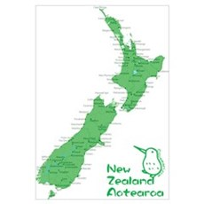 New Zealand Map Wall Art Framed Print