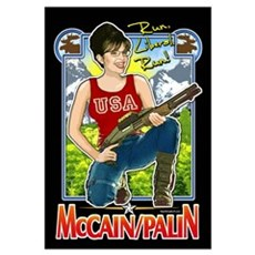 Run Liberal Run - McCain Palin Wall Art Canvas Art