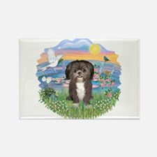 SunriseLilies-ShihTzu#6 Rectangle Magnet