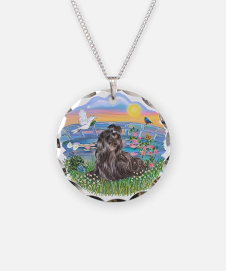 SunriseLilies-Blk Shih Tzu Necklace Circle Charm
