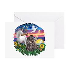 MagicalNight-Blk-ShihTzu Greeting Card