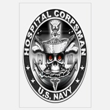 USN Hospital Corpsman Skull H Wall Art