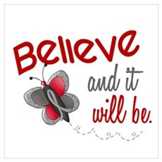 Believe 1 Butterfly 2 GREY Wall Art Poster