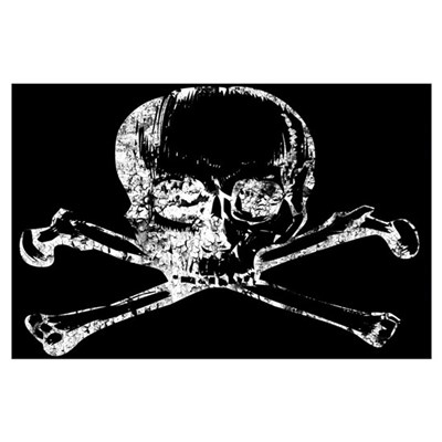 Skull and Bones Distressed Wall Art Poster