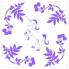 Purple Unicorn, Floral Scrolls. Wall Art Poster