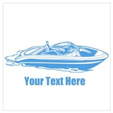 Motorboat. Add Your Text. Wall Art Poster