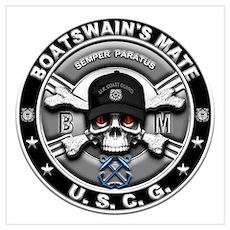 USCG Boatswains Mate Skull BM Wall Art Poster