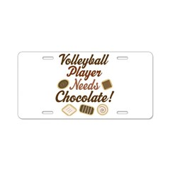 Volleyball Player Chocoholic Aluminum License Plat