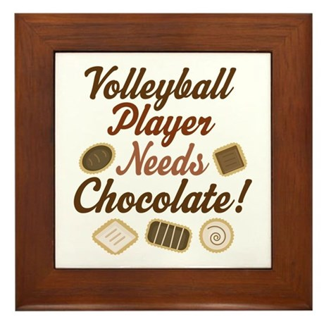 Volleyball Player Chocoholic Framed Tile