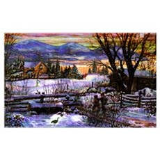 Winter Walk Home Boy Girl & D Wall Art Poster